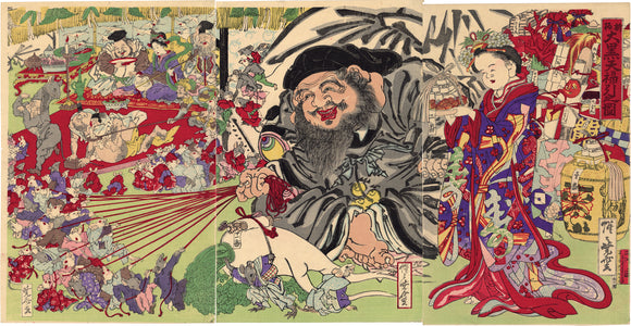 Kawanabe Kyosai  河鍋 暁斎: Daikoku in a Tug of War with Rats 新板 大黒天福引之図