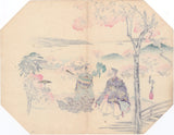 Kawanabe Kyosai 河鍋 暁斎: Fan Print of Cherry Blossoms and Park