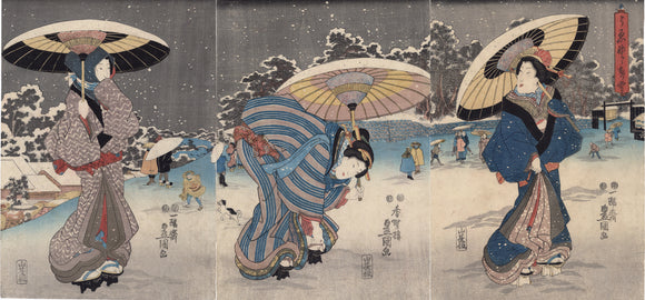 Kunisada: Beauties in Snow with Umbrellas