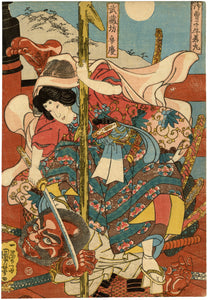 Kuniyoshi: Benkei and Yoshitsune on Gojo Bridge