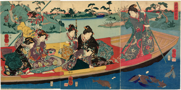 Kuniyoshi: Boating Party Feeding Carp on a Miniature Lake