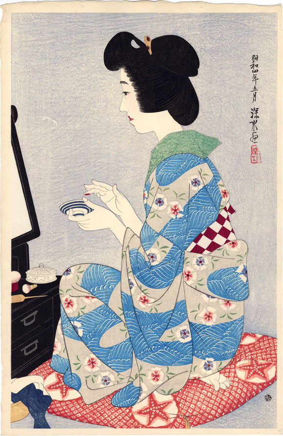 "Itō Shinsui: A beauty applies ""Rouge"" (Kuchibeni)"