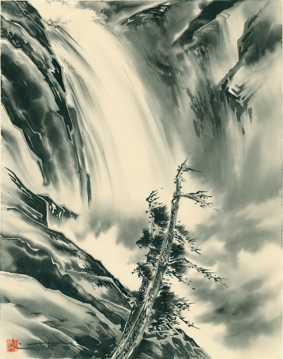 Obata: Cascades Waterfall, Yosemite Silk Painting (Please contact for price)