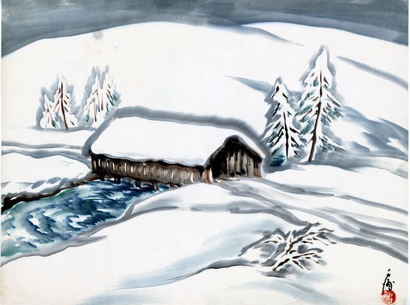 Obata: Gentle snowscape featuring a covered bridge