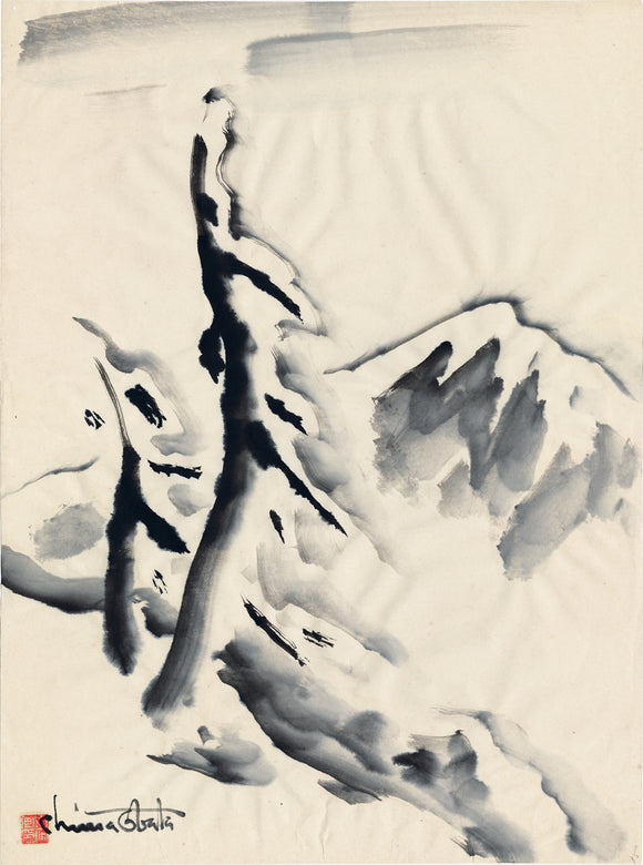 Obata: Snow-laden Pines on a Mountain Slope Ink Painting