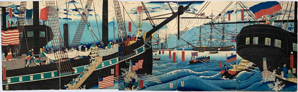 Sadahide: Yokohama Trade Picture of Black Ships Pentaptych