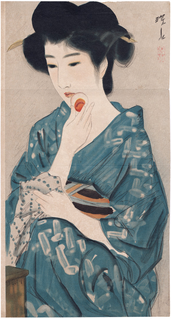 Itō Shinsui 伊東深水: Beauty Applying Powder Kuchi-e