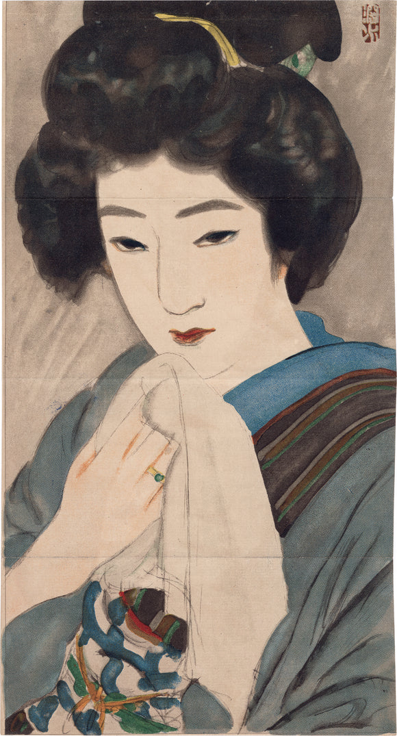 Itō Shinsui 伊東深水:  Kuchi-e of Beauty with Towel