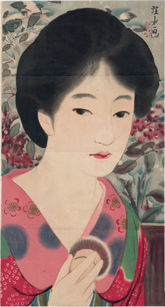 Itō Shinsui 伊東深水: Kuchi-e of a Beauty Holding a Powder Brush
