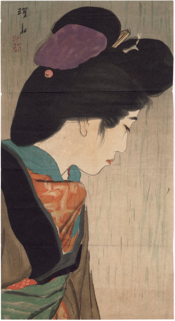 Itō Shinsui 伊東深水: Kuchi-e of a Beauty in Profile in the Rain