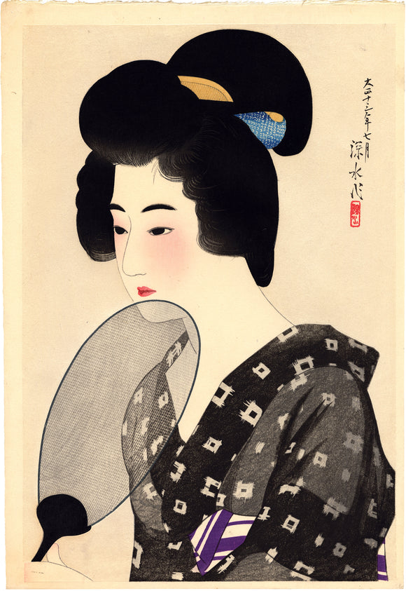 Shinsui: Beauty With Fan With Mica Background