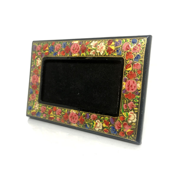 Handpainted small photoframe - Kashmiri floral art - Papier Mache