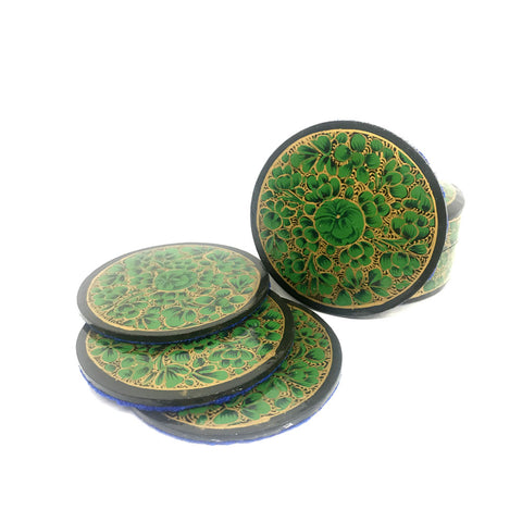Coasters in Green floral design - Papier Mache Kashmiri Art