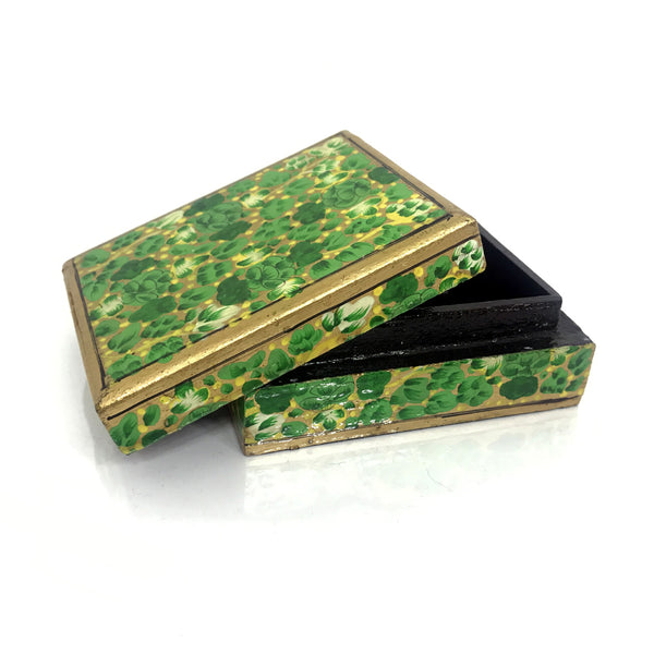 Jewellary box-green-handpainted-papier mache