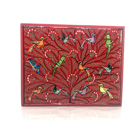 Jewellery box - Red - hand painted - Medium size