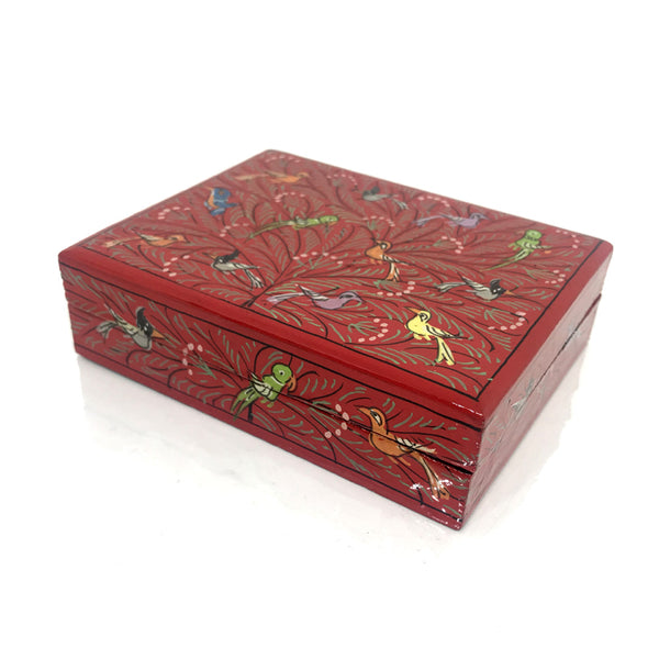 Jewellery box - Red - hand painted Birds design - Medium size