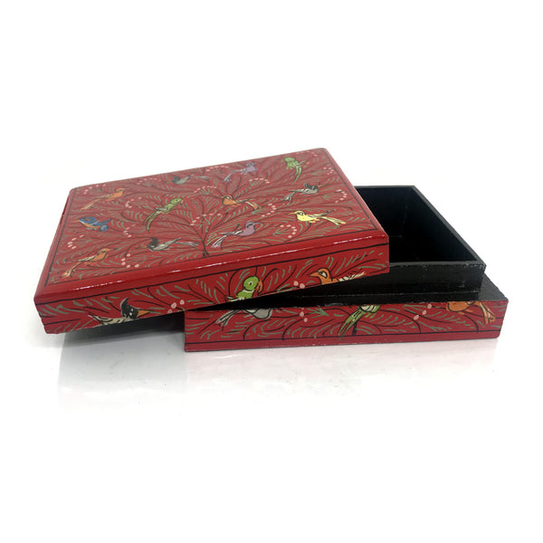 Jewellery box - Red - hand painted design - Medium size
