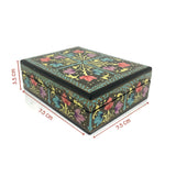 Floral Jewellery box - black - hand painted - Medium size