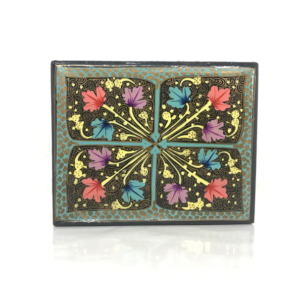 Jewellery box - black floral - hand painted - Medium size