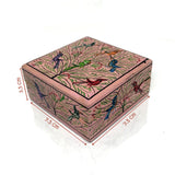 Square Jewellary box - Pink color - handpainted