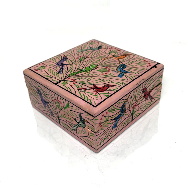 Square Jewellary box - Baby Pink color - handpainted