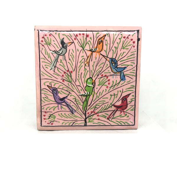 Square Jewellary box - Pink - hand painted