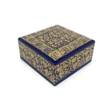 Square Jewellary box - blue and gold - handpainted