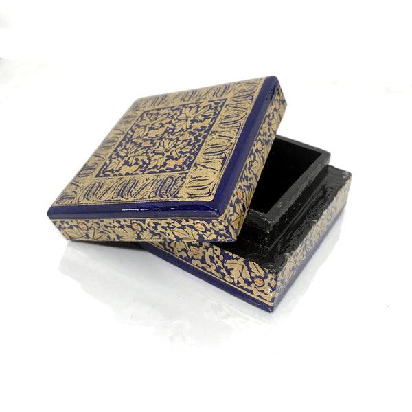 Square Jewellary box - blue - handpainted