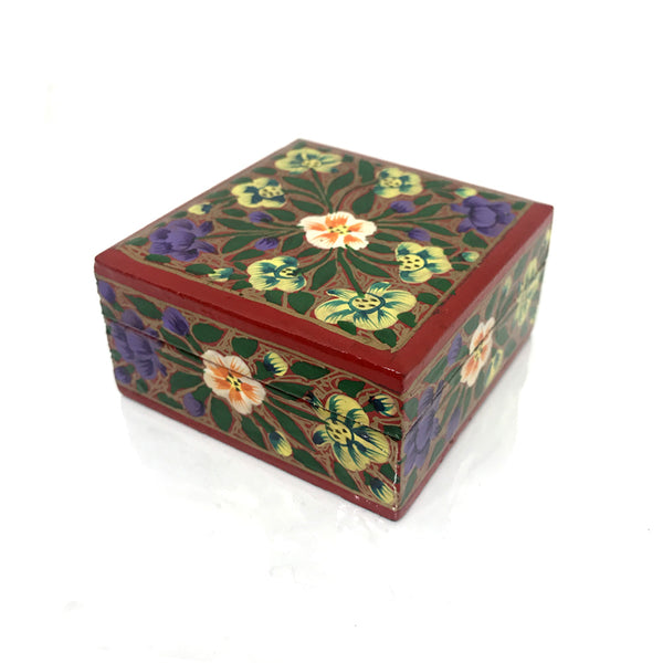 Square Jewellary box - Red floral - handpainted