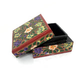 Square Jewellary box - Red - handpainted