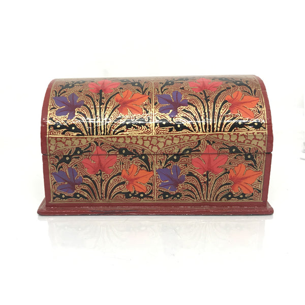 Jewellary Box - Curved design - Red color - Floral pattern