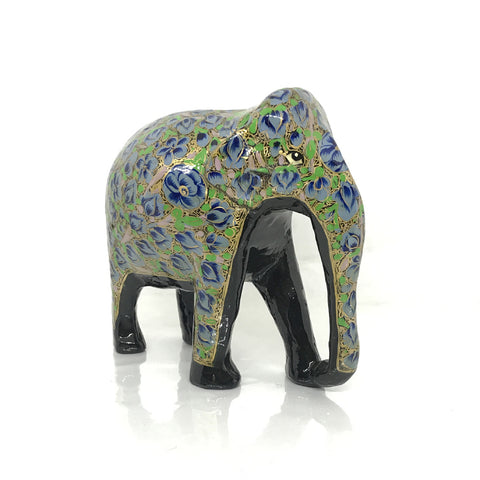 Elephant showpiece - Blue Floral Papier Mache handicraft