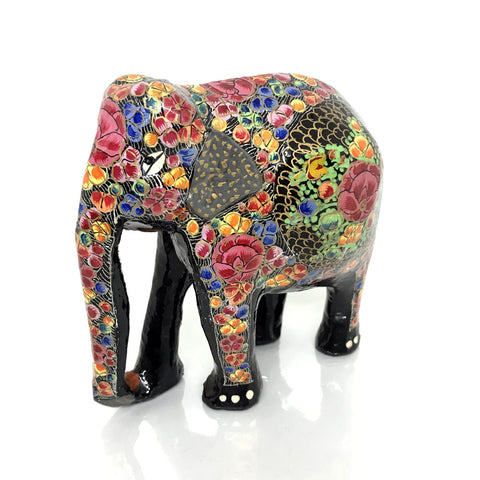 Elephant showpiece - Multi Color Floral design - Papier Mache handicraft