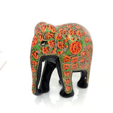 Elephant showpiece -  Orange Floral design - Papier Mache handicraft