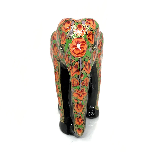 Elephant showpiece -  Orange color design - Papier Mache handicraft