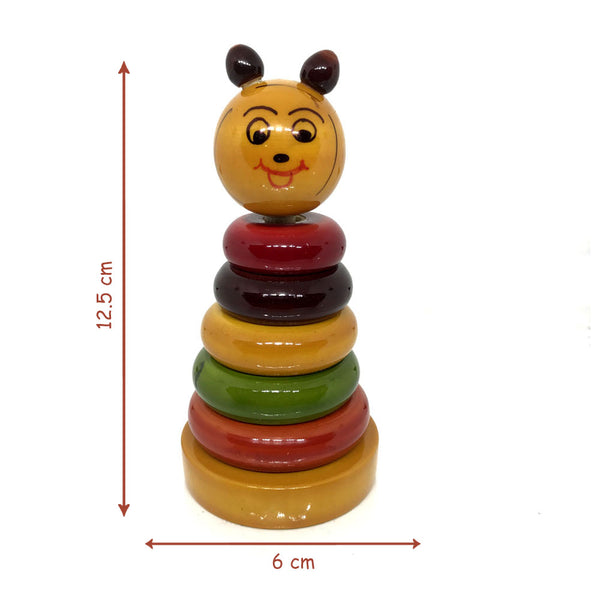Size of Eco-friendly Wooden Stacking Rings for kids - Etikoppaka Handicraft