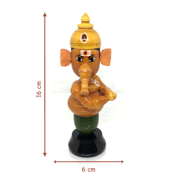 Wooden Ganapathi Figurine with Movable head - Etikoppaka Handicraft