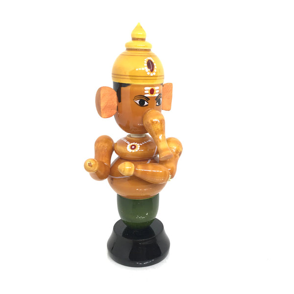 Wooden Ganapati Figurine with movable head