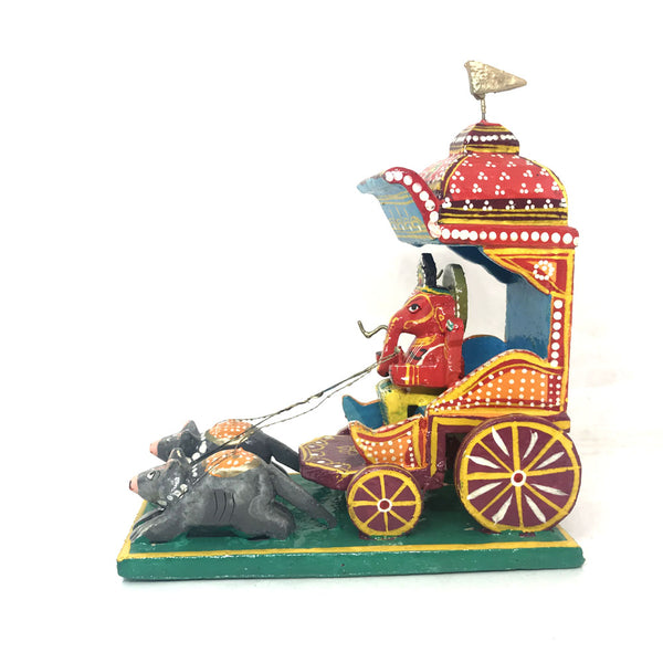 Wooden Lord Ganesha & Chariot - Kondapalli wooden toys