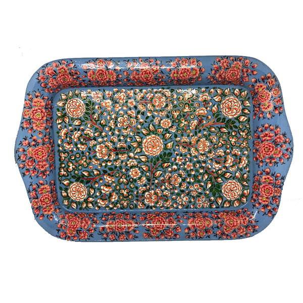 Metal Tray for Tea set - Kashmiri Floral pattern on Metal