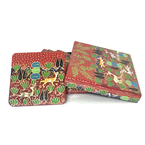 Square Coasters - Red Color Floral design - Kashmiri Papier mache art