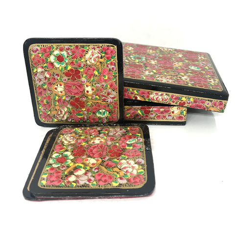 Square Coaster - Floral design - Kashmiri Papier mache art