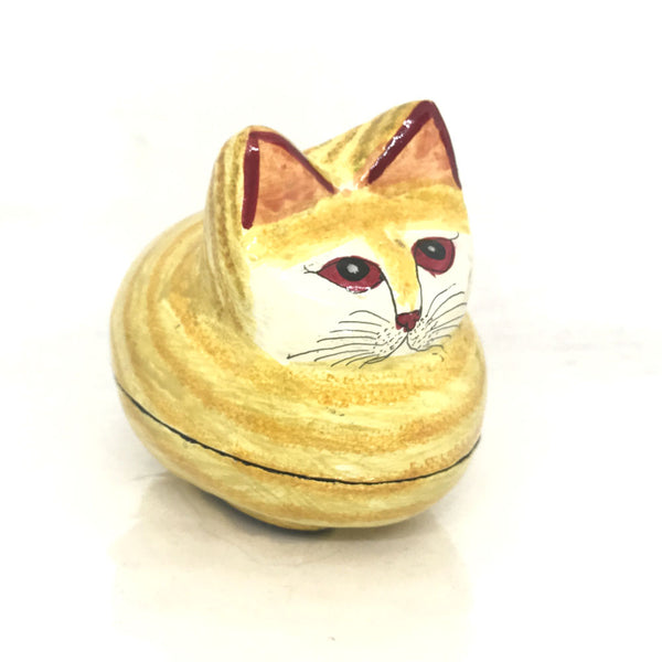Mini Jewellary Box - Cat Shaped - Papier Mache - Artsytribe
