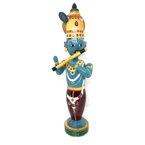 Krishna with flute - Etikoppaka Handicraft