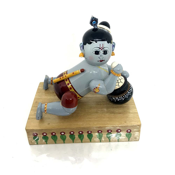 Baby Krishna with butter pot - Artsytribe Handicrafts - Wooden Etikoppaka toy online