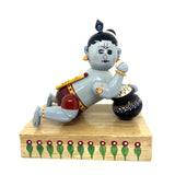 Baby Krishna with butter pot - Artsytribe Handicraft - Wooden Etikoppaka toy online