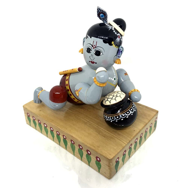 Baby Krishna with butter pot - Artsytribe Handicraft