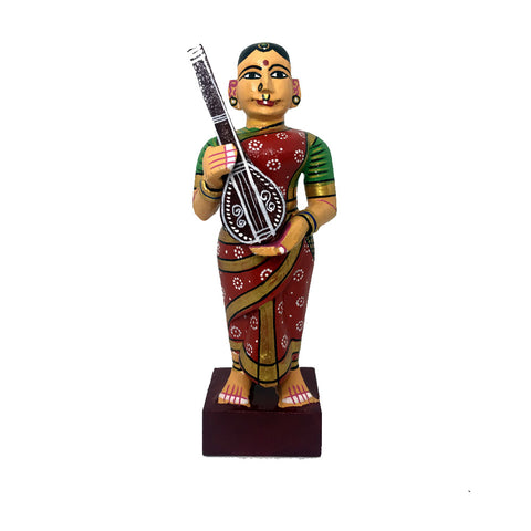 Women with Tambura Musical Instrument - Kondapalli Toys