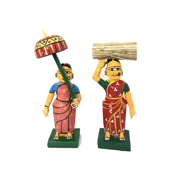 Village Ladies set - Kondapalli Toys - saree