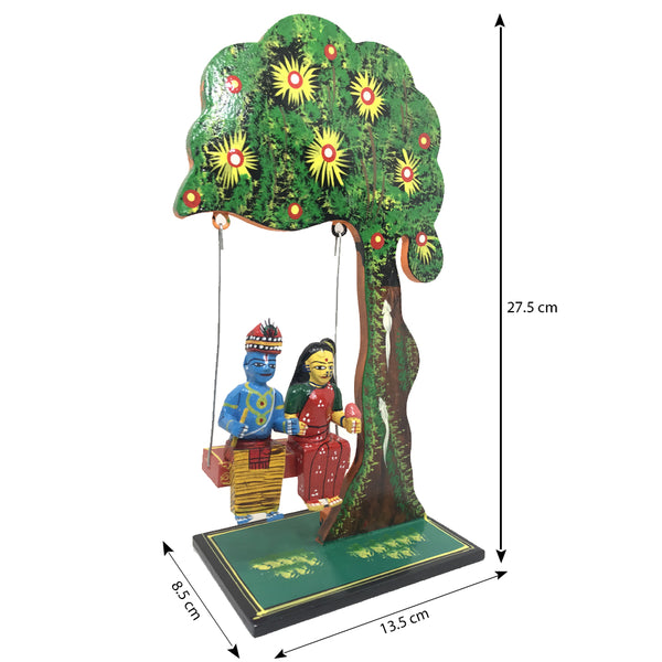 Radha Krishna wooden Homedecor Showpiece